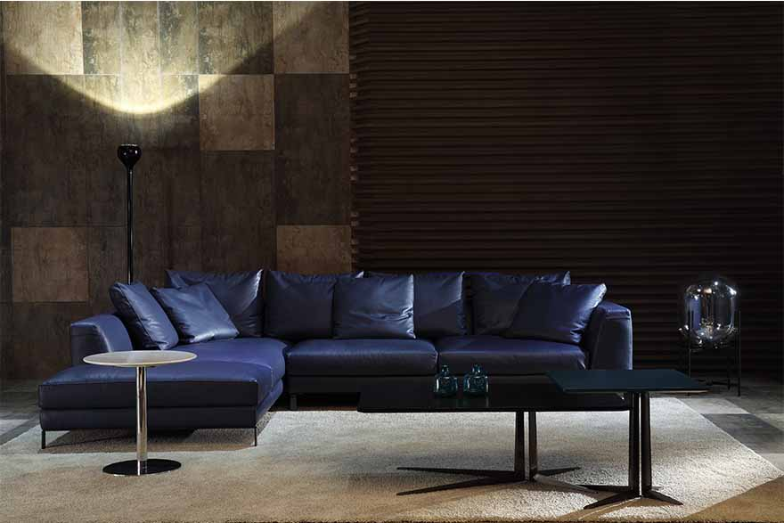 blue leather sofas S00716-2